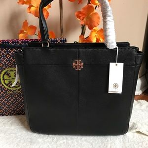 $525 Tory Burch Ivy Size Zip Black Leather Tote